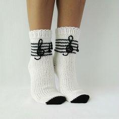 Musical socks. Music tones socks. Hand Knit socks. Birthday gift. Handmade socks. Warm Socks. Hosiery