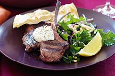 Aromatic with cinnamon and allspice, tender lamb is irresistible with a zesty dollop of tahini yoghurt. Spiced lamb cutlets with tahini yoghurt Clean Lunches, Lunches And Dinners, Tahini, Dinner Tonight, Lamb, Steak, Spices, Pork, Mint