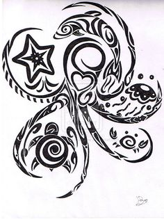 Pin Tribal Octopus Tattoo Design Beautiful Tattooed On Your Picture on . Ta Moko Tattoo, Hawaiianisches Tattoo, Body Art Tattoos, Small Tattoos, Tatoos, Armband Tattoo, Bicep Tattoos, Turtle Tattoo Designs, Octopus Tattoo Design