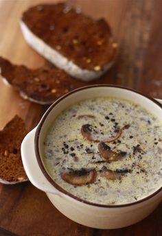 Original pinner says:  Mushroom Soup - weve made this TWICE this week.  I am not kidding when I say this is to die for.