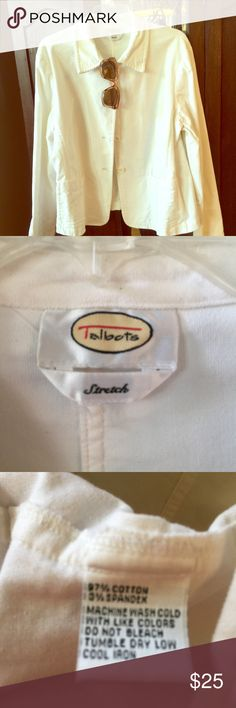 TALBOTS jacket 🌸 Talbots stretchy whitish-cream jacket, great for spring. Very good condition, and well-made. 👛👠 Talbots Jackets & Coats Blazers