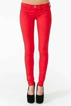 Metric Skinny Jeans in Red