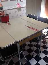 Vintage Retro Kitchen Table With Leaves Formica Top c1940/50 Red Tan Blue Crome