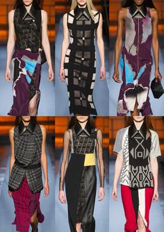 ROLAND MOURET - Paris Fashion Week – Autumn/Winter 2014/2015 – Print Highlights – Part 1 catwalks - David Lynch Inspired Themes – Surreal Print Forms – Foil Embellishments – Angular Print Motifs – Optical Explorations – Chevron Stripes over Optical Pattern – Dark Grounds