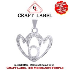 """1/12 Ct White Genuine Diamond 14K Gold Mom Heart Pendant Without Chain """"Mother\'s Day Gift"""". Starting at $44"""