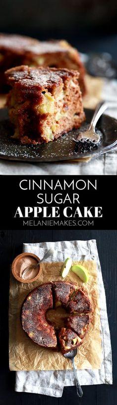 This seven ingredient Cinnamon Sugar Apple Cake is a humble little cake.  It doesn't need any sickeningly sweet glaze or gloppy frosting, no friend, this cake is just enough as is with a cinnamon sugar crust.  With just 10 minutes of prep work, this is a great recipe to keep in your back pocket when you want to treat your family - or yourself! - or you have friends coming over.