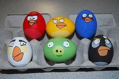 Para realizar  este trabajo manual que se que les gustara a los niños huevos pintados con los personajes de Angry Birds :D