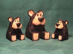 Hand Carved Handmade Bear Family Wood Carvings Carved Wood Bears Cabin Decor