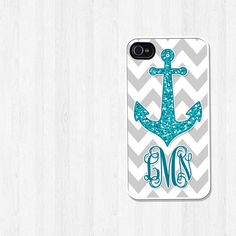 Personalized iPhone 4 Case, iPhone 5 Case, Nautical Glitter Teal Anchor Gray Chevron Monogram, iPhone Case, Phone Case, iPhone Cover (278). $16.95, via Etsy.