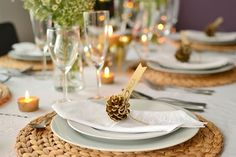 natural fiber placemats - small pine cones in the plate
