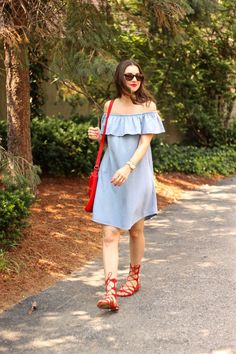 Frilled Off the Shoulder Denim Dress by Express
