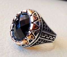 men ring black onyx agate aqeeq faceted stone by AbuMariamJewels