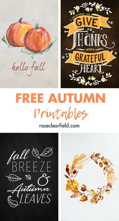 A round-up of FREE fall printables for home decor on the cheap! Decorate for autumn in style without breaking the bank. #fall #autumn #freeprintables #homedecor Free Thanksgiving Printables, Free Printables, Printable Lables, Autumn Art, Autumn Theme, Fall Images, Autumn Decorating, Decorating Ideas, Fall Crafts
