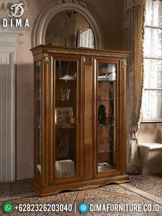 Elegant Carving Lemari Hias Mewah Jepara Best Quality Furniture Terbaru TTJ-1455 Quality Furniture, China Cabinet, Clear Glass, Armoire, Carving, Glass Doors, Elegant, Luxury, Gold Leaf