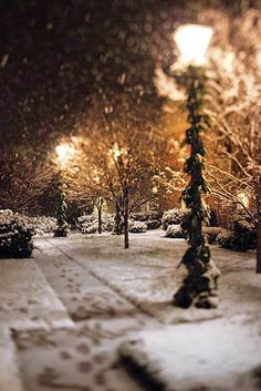sidewalk in winter underneath lanterns - love the glow - magical yes :-)