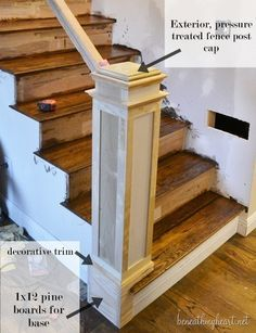 How to Build a Newel Post | Beneath My Heart