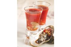 The salty ocean brine of the oyster is perfectly complemented by the sweetness of PAMA. This beautiful appetizer comes together in just seconds! Best Bloody Mary Recipe, Bloody Mary Recipes, Types Of Alcoholic Drinks, Oyster Shooter, Bloody Mary Bar, Oyster Recipes, Premium Vodka, Elegant Appetizers, Caves