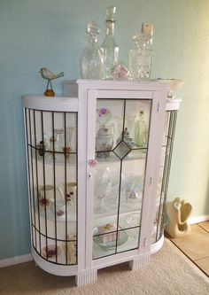 Revamped leadlight china cabinet at www.roseandsunday.co.nz