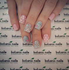 Gorgeous pink and silver nails Duck Nails, Botanic Nails, Baby Pink Nails, Short Nails Art, Silver Nails, Short Nail Designs, Nail Arts, Beauty Nails, How To Do Nails