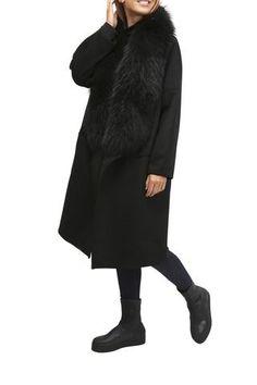 Black Wool Waterfall Coat With Raccoon Trim