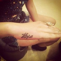 little hope, tattoo, side of finger, hand