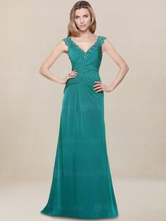 Mother of the bride dress features V-neck bodice with beaded Lace accent.