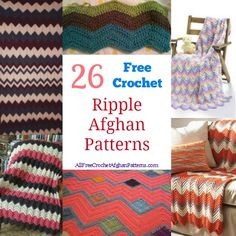 26 Free Crochet Ripple Afghan Patterns - don't miss this awesome collection of ripple crocheted afghans!