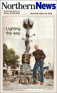 A 3.5-metre bronze and glass street lamp and signpost outside Kawakawa's Train-spotter Café is the latest addition to a collection of public artworks in the town.