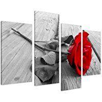 Cuadros enLienzo Grande Floral Rosa Roja Imágenes XL para Pared 130cm Prints 4005