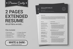 2 Pages Resume CV | Extended Pack by SNIPESCIENTIST on Creative Market
