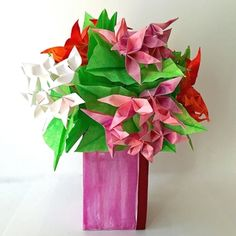 Fresh Origami Flower Arrangement in Origami Box Vase - available in shop on website