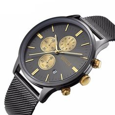 Stainless steel mesh Brand men watches Water Resistance Depth: 3Bar Case Shape: Round Feature: Water Resistant,Shock Resistant,Complete Calendar,Auto Date Case Thickness: 10mm Case Material: Alloy Band Material Type: Stainless Steel Band Width: 21mm Dial Diameter: 42.5mm Clasp Type: Hook Buckle Band Length: 24cm http://www.leonardwatches.it/products/stainless-steel-mesh-brand-men-watches