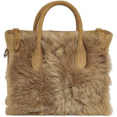 Ralph Lauren Suede and Fur Mini Tote Bag ($1,180) ❤ liked on Polyvore featuring bags, handbags, tote bags, purses, mini handbags, brown tote, mini purse, brown suede handbag and handbags totes