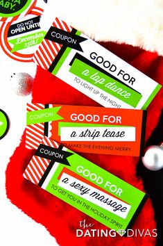Sexy Stocking Stuffers for Husband & Wife - From The Dating Divas Coupon Books For Boyfriend, Boyfriend Gifts, Very Merry Christmas, Diy Christmas Gifts, Christmas Stocking, Candy Quotes, Candy Sayings, Creative Date Night Ideas, Holiday Dates