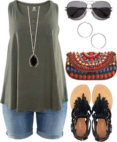plus size summer outfit. jean shorts + flowing tank top + sandals + fun accessories