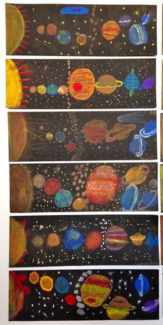 Our Solar System.Science/Art Project Colored chalk and Q-tips grade.McKinley School Pasadena, CA by Denistonpz kunst Our Solar System.Science/Art Project Colored chalk and Q-tips grade.McKinley School Pasadena, CA by Denistonpz kunst Classroom Art Projects, Art Classroom, Projects For Kids, Physics Classroom, Classroom Displays, Classroom Ideas, Science Art, Science Activities, Science Ideas