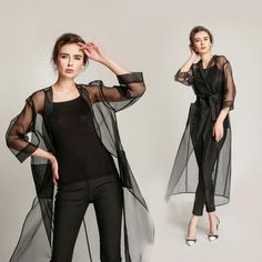 trench coat outfit – Organza and Silk See through Transparent Trench Coat – THULI NYC Coat Outfit, Coat Dress, Casual Wear, Casual Dresses, Fashion Dresses, Women's Casual, Sexy Dresses, Estilo Fashion, Ideias Fashion