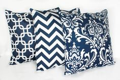3 DECORATIVE PILLOW Covers - THROW Pillows - 18 x 18 inches - Navy Blue Zig Zag Chevron Damask Chain