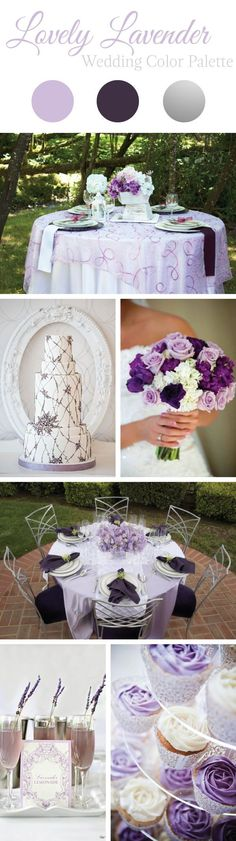 Be inspired for your summer wedding with this lovely lavender wedding color palette, featuring alluring shades of purple, eggplant, silver, and lavender