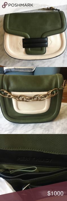 Brand New Pierre Hardy Shoulder Bag Brand new, never worn, perfect condition. Black, green and white calf leather Alphaville shoulder bag from Pierre Hardy. Chain strap and leather long strap (shown in picture, inside bag). Measurements: Width: 11.8 in Height:9.4 in, Depth:4.7 in, Strap:13.8 in Pierre Hardy Bags Shoulder Bags