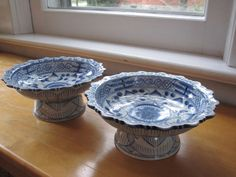 Hand painted blue and white candy dishes