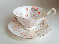 Mid Century Princess Anne Teacup and Saucer Bone by AprilsLuxuries
