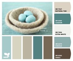 Love these shades of blue-green to shades of mint green!!! Bebe'!!! They contrast with the creme and work well together!!! Love this accessory....a fuzzy basket with fuzzy eggs!!!