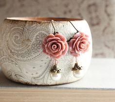 Rose Earrings, Pearl Drop, Swarovski Beads, Dusty Rose Pink Floral Dangle, Leverback, Shabby Chic Garden, Bridal Wedding, Flower Jewellery