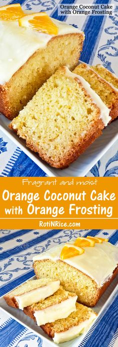 This fragrant and moist Orange Coconut Cake with Orange Frosting is a winner. The flavors of orange and coconut are simply delightful together. | RotiNRice.com