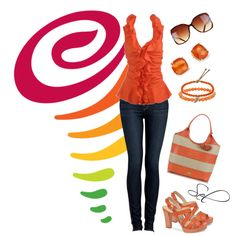 """orange ruffle"" by selenitabr on Polyvore"