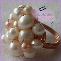 Freshwater Pearl Cluster Ring on a spiraled wire base :-)