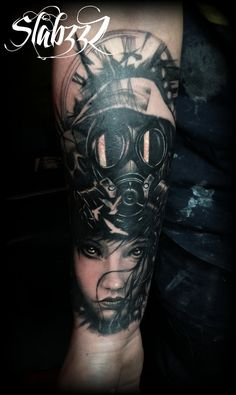 Gothic holocaust gas mask chick tattoo by Slabzzz.deviantart.com