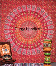 Indian Tapestry Mandala Bedspread Beach Wall hangings Hippie Bedding Outdoor Mat #Handmade #ArtDecoStyle