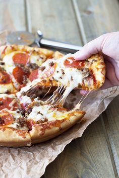 Deep Dish Three Meat Pizza -thick crust, sauce, three kinds of meat and lots of cheese!!! Need I say more?!?! | countrysidecravings.com